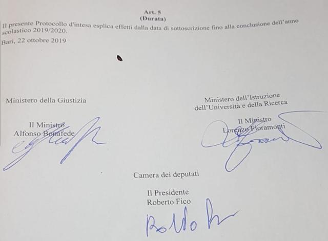 Protocollo d'intesa Camera dei deputati, MIUR, Ministero della Giustizia - Anno scolastico 2019-2020